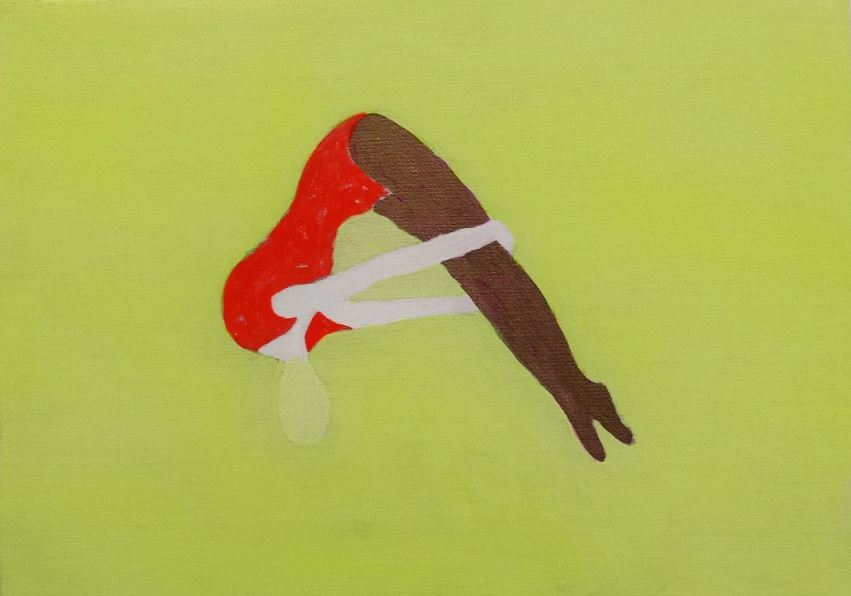 Kousuke ISHIHARA《A Woman Wearing A Red Leotard》 / Acrylic and pencil on canvas / 333 × 242 mm / 2014