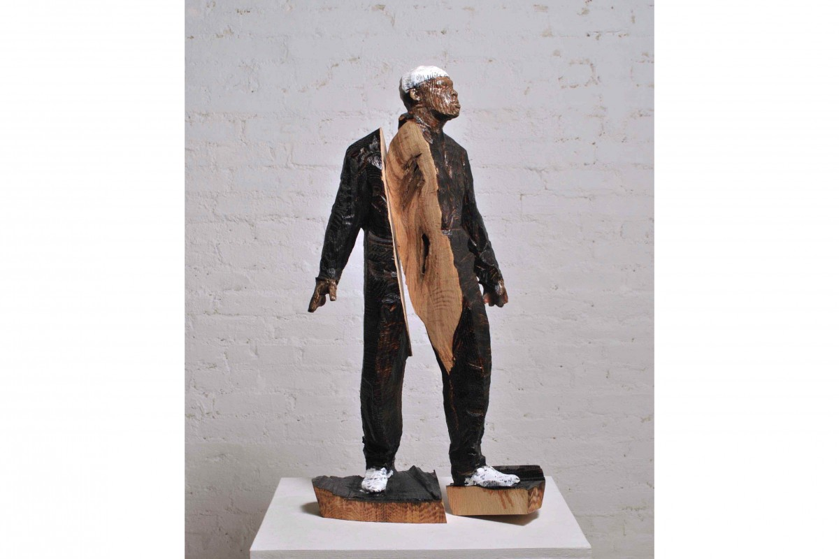 1Man_Performing_in_New_York13_Burnt_Wood_Acrylic_with_Varnish_2013_H28.25_x_W14.5_x_D7_inch_web