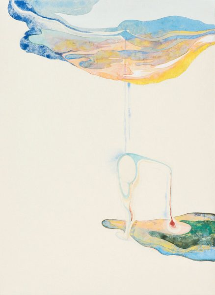 森夕香 Yuka MORI 《最初の雨にふられる》 / 麻紙・岩絵具・水干絵具 / 333×242 mm / 2016年 [photo:Masaru YANAGIBA]