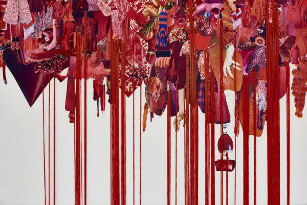 荒木由香里 Yukari Araki 《Red》(部分) / 2016 / Mixed media / 1250×3600 mm