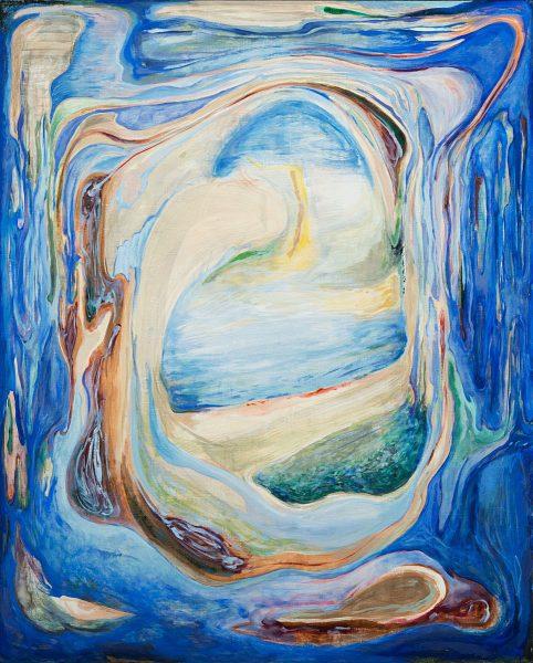 森夕香 Yuka MORI 《早朝のインサイドアウト》 / キャンバス, 油彩, 日本画顔料, 胡粉 / 162 × 130 cm / 2017 / Photo:Masaru Yanagiba