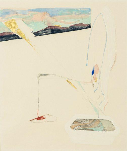森夕香 Yuka MORI 《フロのひと》 / 和紙, 日本画顔料, コラージュ / 53.1 × 44.1 cm / 2017 / Photo:Masaru Yanagiba